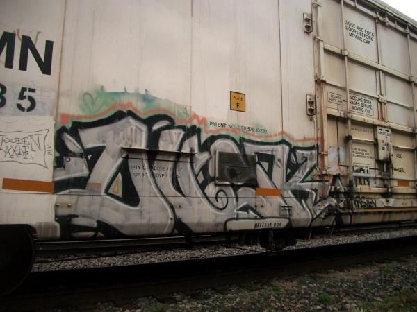dusk graffiti freight train