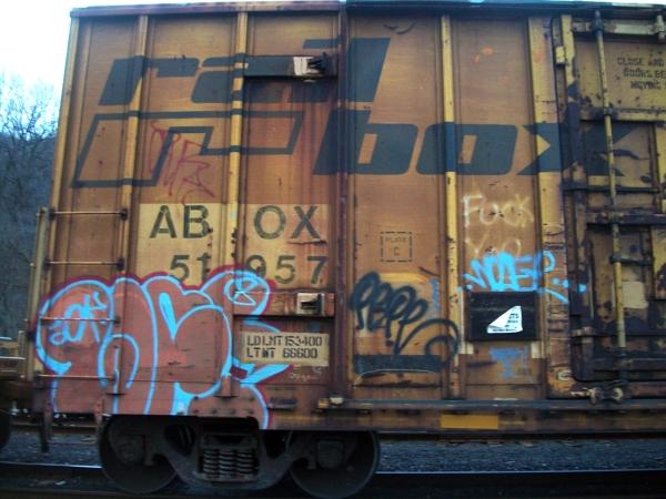 wolf pepe graffiti freight train